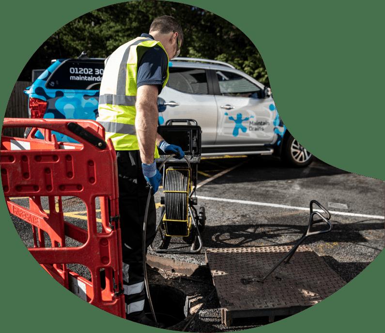 Maintain Drains plumber conducting a CCTV drain survey