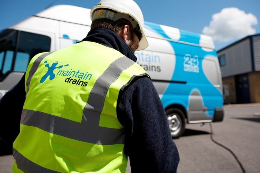 Maintain Drains plumber with Maintain Drains van