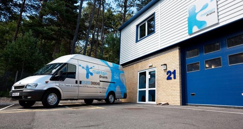 Maintain Drains van outside Maintain Drains Headquarters