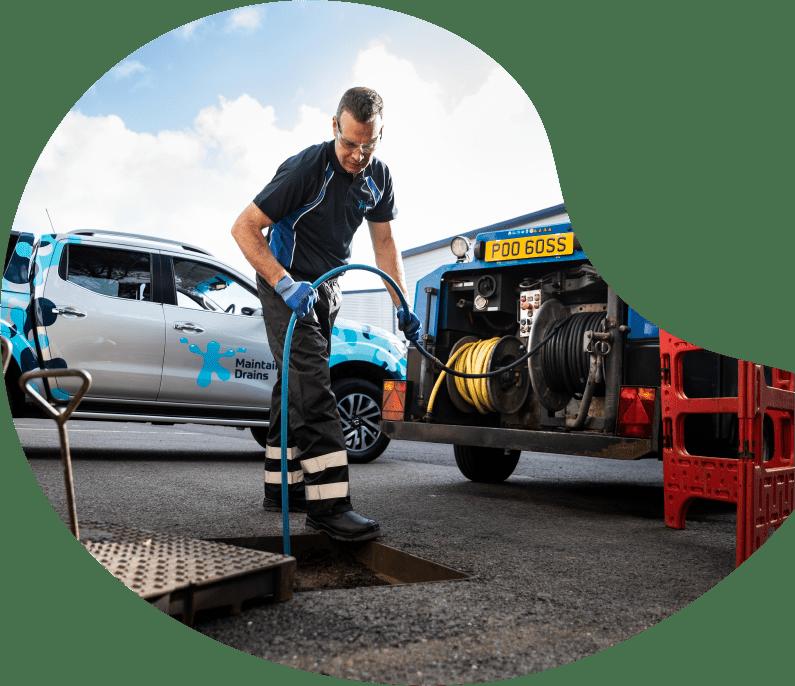 Maintain Drains plumber jetting an external drain